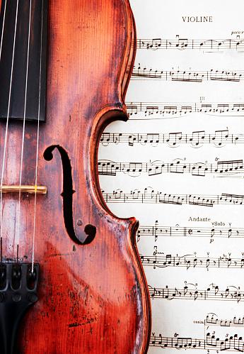 Violin「violin on classical sheet music」:スマホ壁紙(0)