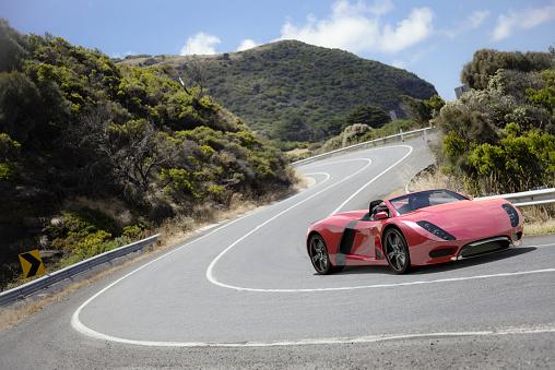 Winding Road「Sports Car on a Coastal Road」:スマホ壁紙(4)