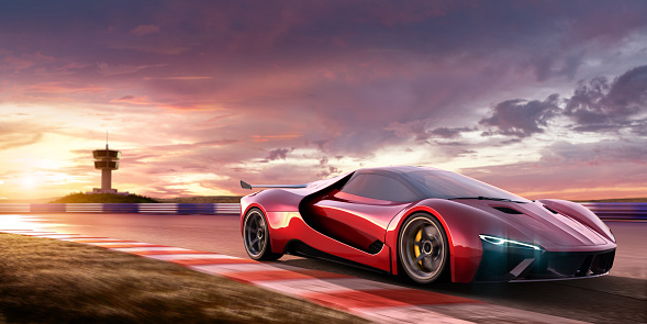 Sports Car「Sports Car Moving At High Speed On Racetrack At Sunset」:スマホ壁紙(3)
