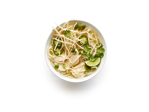Bean Sprout「Overhead of chicken pho in white bowl on white」:スマホ壁紙(12)