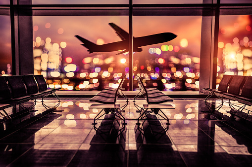 Progress「Airport Lounge and airplane take off in the city」:スマホ壁紙(16)