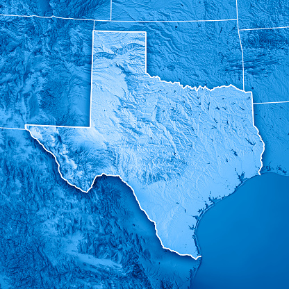 Southern countries「Texas State USA 3D Render Topographic Map Blue Border」:スマホ壁紙(3)