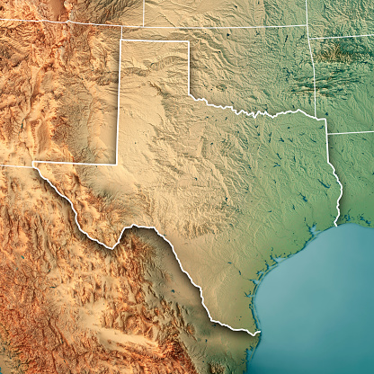 Gulf Coast States「Texas State USA 3D Render Topographic Map Border」:スマホ壁紙(12)