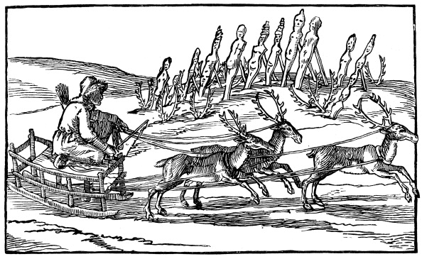 Reindeer Sledding「Samoyed travelling on a sleigh pulled by reindeer, late 16th-early 17th century.」:写真・画像(8)[壁紙.com]