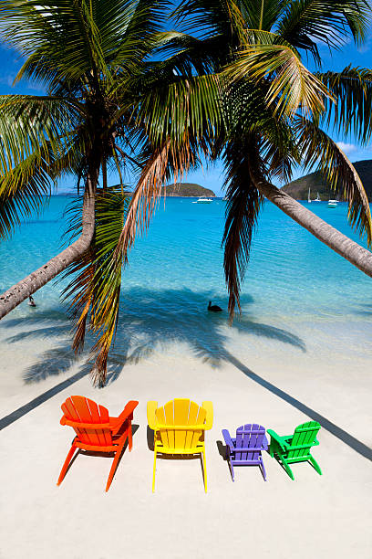 colorful andirondack chairs at a beach in the Caribbean:スマホ壁紙(壁紙.com)