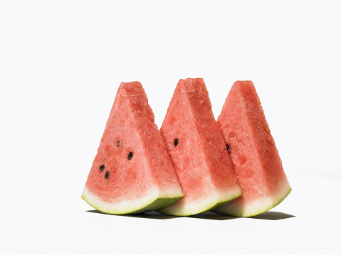 スイカ「Slices of watermelon, white background」:スマホ壁紙(6)
