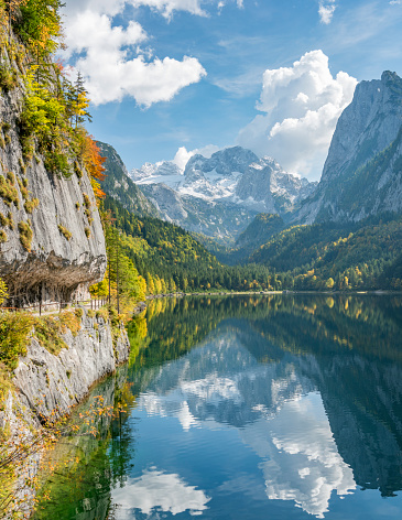 Austria「Gosausee Reflections, Beautiful Fall Colors, Dachstein Glacier, Lake Gosau, Austria」:スマホ壁紙(14)