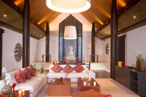 Buddhism「Luxurious living room in a tropical villa in Asia」:スマホ壁紙(9)