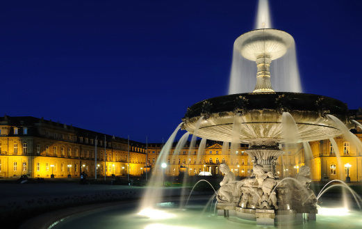 Stuttgart「Stuttgart Fountain and Palace Night」:スマホ壁紙(12)