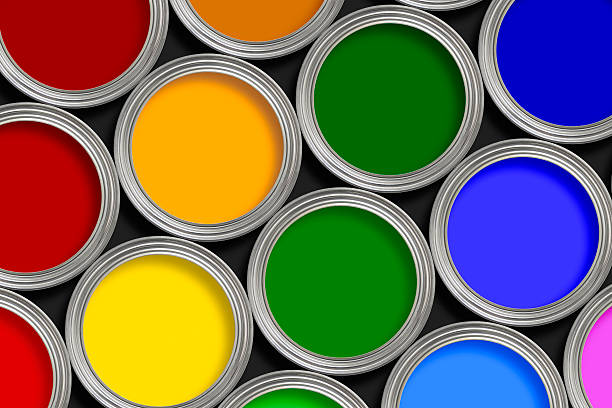 Open multi-colored paint tins from above:スマホ壁紙(壁紙.com)