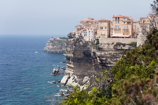 Limestone「Old Town Bonifacio on White Limestone Cliffs by sea against clear sky at Corsica, France」:スマホ壁紙(14)