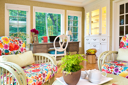 Ceiling Fan「Interior Design Solarium Sun Room of Residential Home」:スマホ壁紙(8)