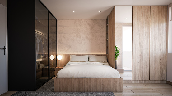 Wood Paneling「Interior Design. Architecture. Computer generated image of bed room. Architectural Visualization.」:スマホ壁紙(13)