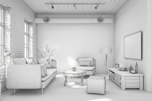 Digitally Generated Image「Interior design apartment white template」:スマホ壁紙(19)