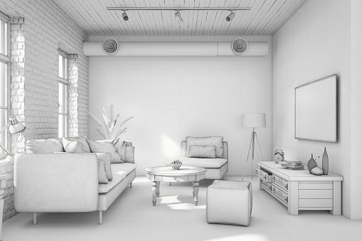 Chair「Interior design apartment white template」:スマホ壁紙(17)