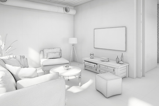 Digitally Generated Image「Interior design apartment white template」:スマホ壁紙(9)
