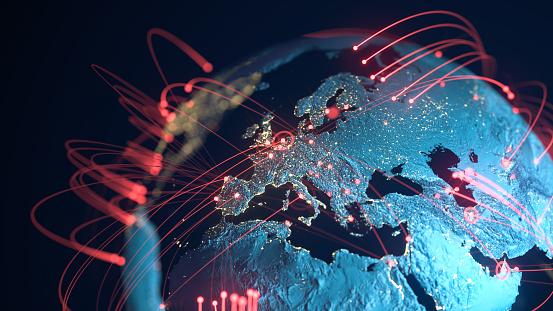 Travel「Global Connection Lines - Data Exchange, Pandemic, Computer Virus」:スマホ壁紙(3)