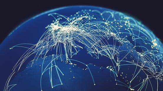 Communication「Global Connections (World map texture credits to NASA)」:スマホ壁紙(15)