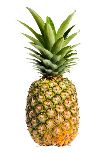 Vertical「Pineapple, a Ripe, Fresh Fruit Food, Whole, Isolated on White」:スマホ壁紙(11)