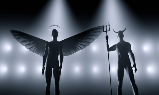 Evil「Angel and devil standing next to each other」:スマホ壁紙(8)