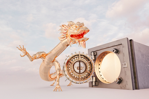 Dragon「Golden oriental dragon guarding safe with open door」:スマホ壁紙(8)