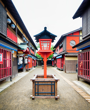 Lantern「Japanese Edo village street movie set with lantern at Toei Studios Kyoto」:スマホ壁紙(4)