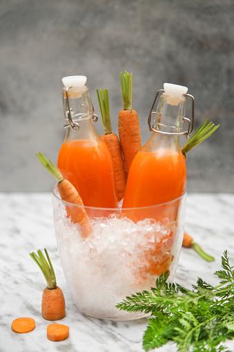 Vegetable Juice「Refreshing carrot juice on marble」:スマホ壁紙(14)