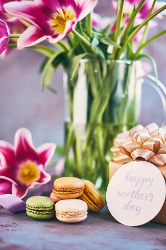 母の日「筆文字カードを使って母の日紫チューリップ花束」:スマホ壁紙(16)