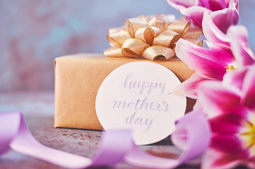 母の日「筆文字カードを使って母の日紫チューリップ花束」:スマホ壁紙(4)