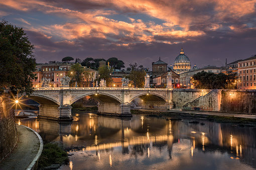 Cathedral「Rome Tiber & St. Peters Basilica, Vatican, Italy.」:スマホ壁紙(5)
