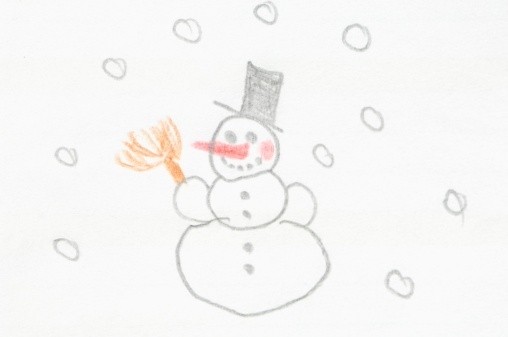 雪だるま「Germany, Munich, Child's drawing of snowman in exercise book」:スマホ壁紙(14)