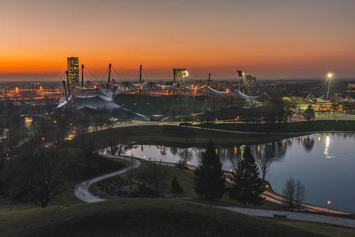 Munich「Germany, Munich, Olympic Park and Olympiastadion at sunset」:スマホ壁紙(14)
