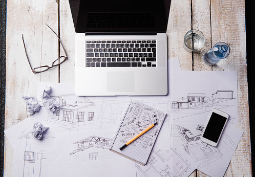 Architect「Desk of an architect with laptop and sketches」:スマホ壁紙(18)