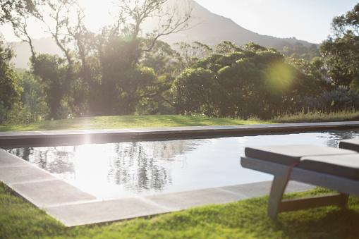 Front or Back Yard「Sunny backyard with lap pool」:スマホ壁紙(6)