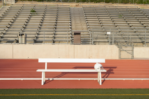スポーツ「Empty bench on sidelines of field」:スマホ壁紙(15)