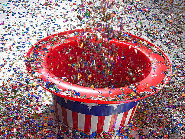 Confetti pouring into stars ad stripes hat:スマホ壁紙(壁紙.com)