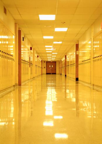 High School Student「Empty High School corridor with yellow lockers」:スマホ壁紙(12)