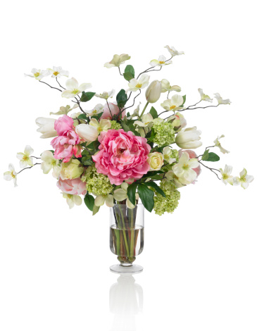 Hydrangea「Springtime Dogwood and Peony bouquet on white background」:スマホ壁紙(15)