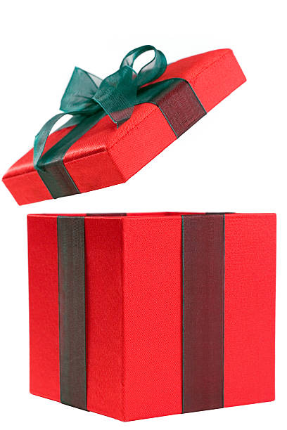 A red gift box with the lid open and a green bow:スマホ壁紙(壁紙.com)