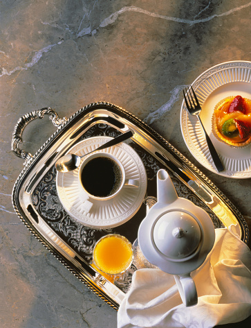 Breakfast「Silver Tray with Coffee, Juice and Fruit Tart」:スマホ壁紙(2)