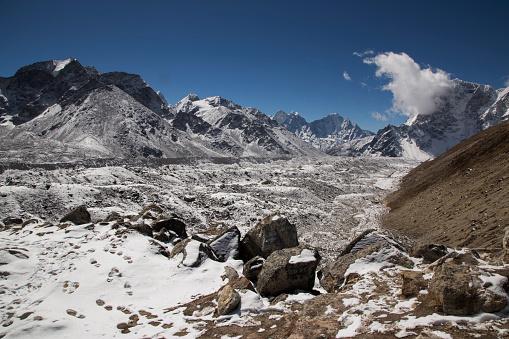 Khumbu Glacier「Snow capped peaks of the Everest Himalayas near Gorak Shep, Everest Base Camp Trek, Nepal」:スマホ壁紙(8)