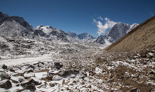 Khumbu Glacier「Snow capped peaks of the Everest Himalayas near Gorak Shep, Everest Base Camp Trek, Nepal」:スマホ壁紙(6)