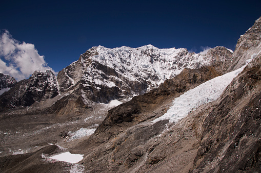 Khumbu Glacier「Snow capped peaks and glacier in the foreground from Kala Patthar, Gorak Shep, Everest Base Camp Trek, Nepal」:スマホ壁紙(18)