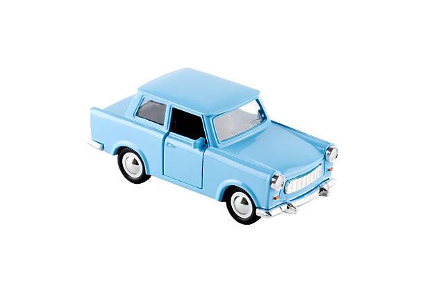 Blue toy car - Trabant, isolated on white:スマホ壁紙(壁紙.com)