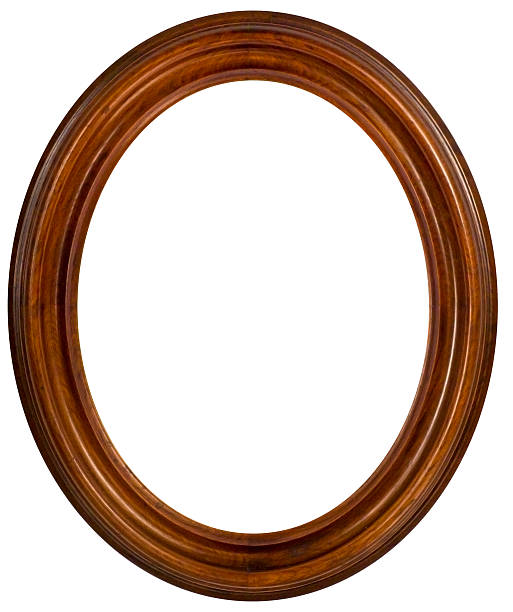 Oval Walnut Picture Frame.  Isolated with Clipping Path:スマホ壁紙(壁紙.com)