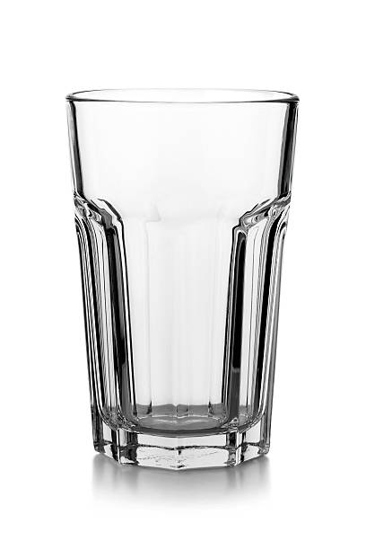 Empty Glass isolated on a white background with reflection:スマホ壁紙(壁紙.com)