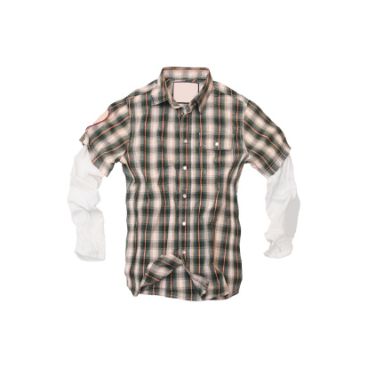 Clothing「Plaid Twofer Shirt on White Background」:スマホ壁紙(14)