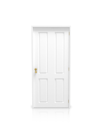 Closed「White panel door with gold knob on a white background」:スマホ壁紙(17)