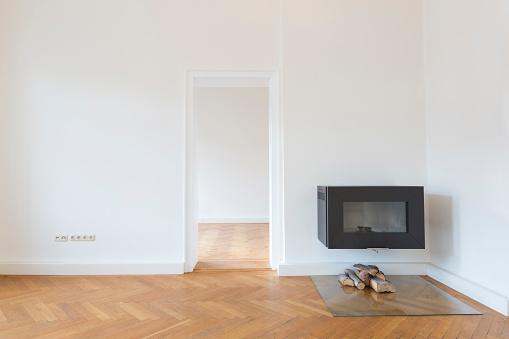 Parquet Floor「Spacious empty living room with herringbone parquet and fireplace」:スマホ壁紙(5)