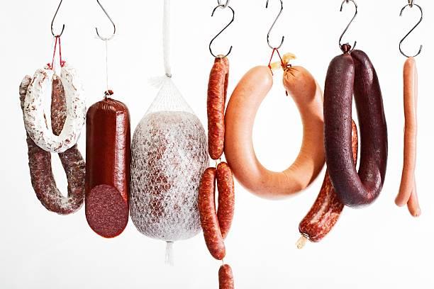 Sausages hanging on hooks:スマホ壁紙(壁紙.com)